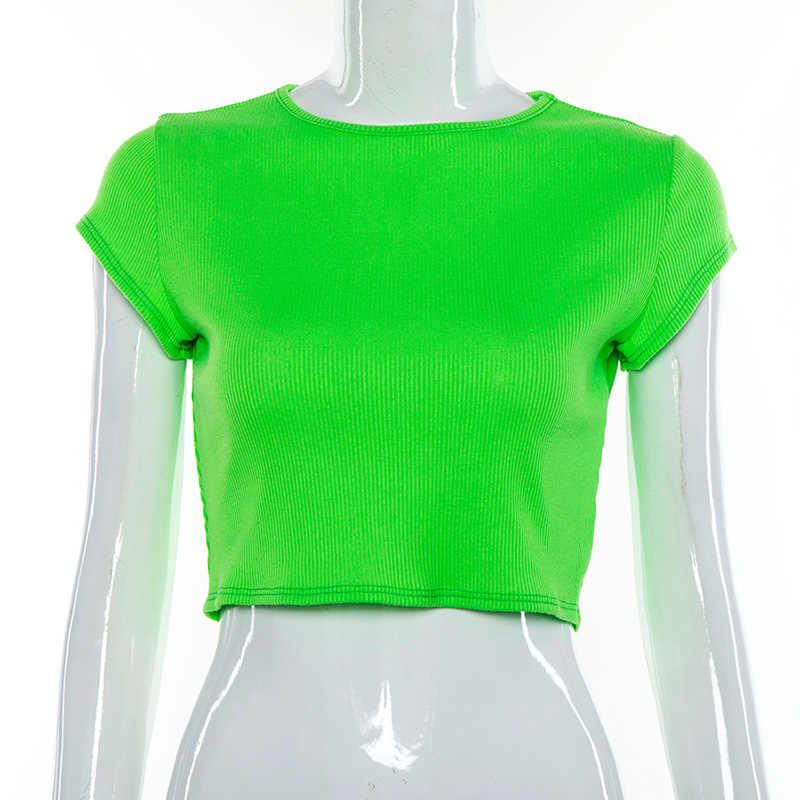 Криптографический неоновый Повседневный круглый вырез футболки женские с коротким рукавом укороченный топы футболки тонкий летний топ уличная одежда