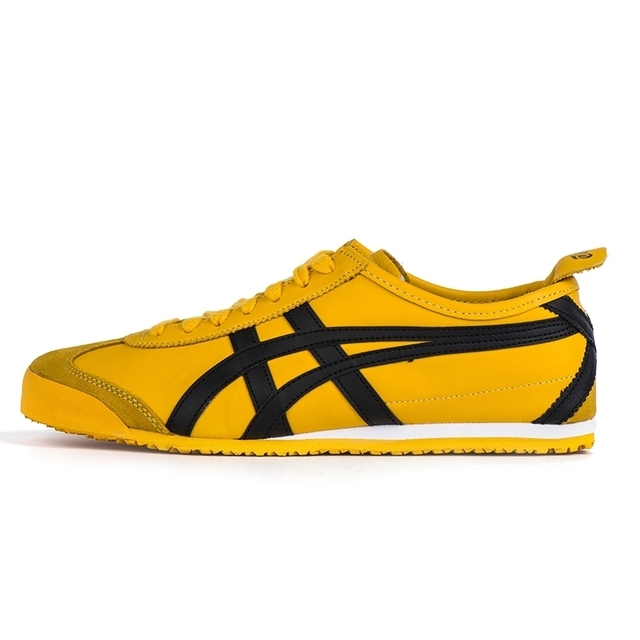 721423f94266 Onitsuka Tiger men s shoes yellow bright MEXICO 66 Rubber sole Hard-Wearing  sneakers badminton shoes DL408-0490