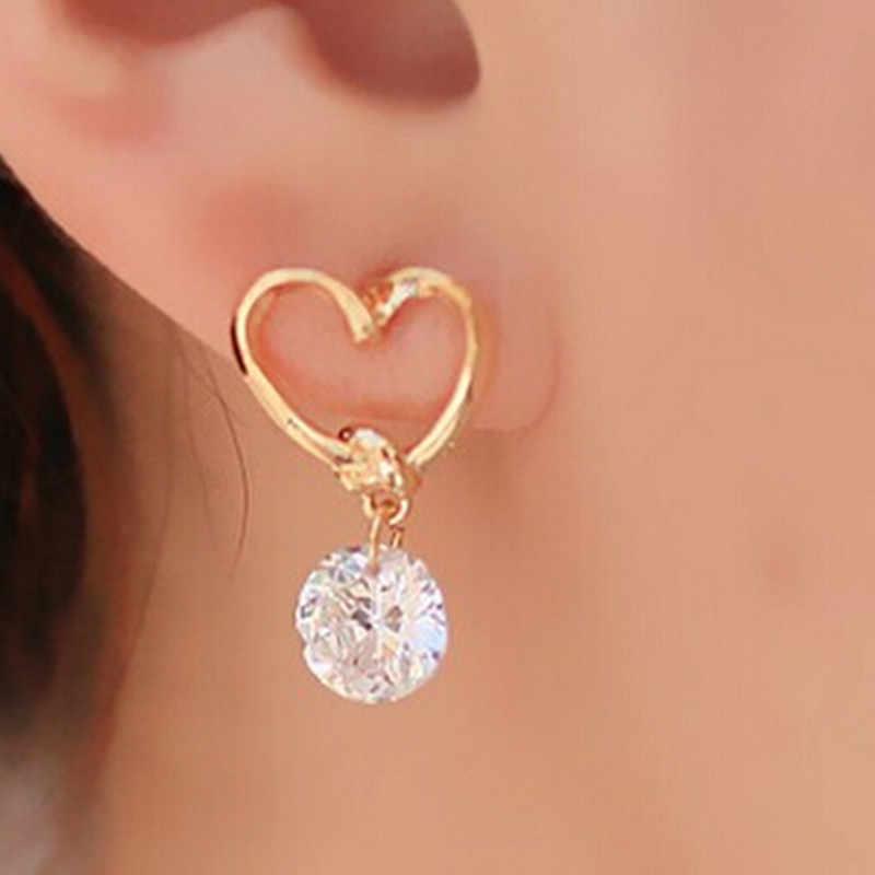 Baru Fashion Crystal Stud Earrings untuk Wanita Flowe Desain Berlian Imitasi Telinga Perhiasan Grosir