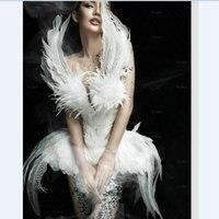 ファッションショー白鳥ドレス写真撮影とハロウィン商業パフォーマンスホワイトスワンコスプレ衣装