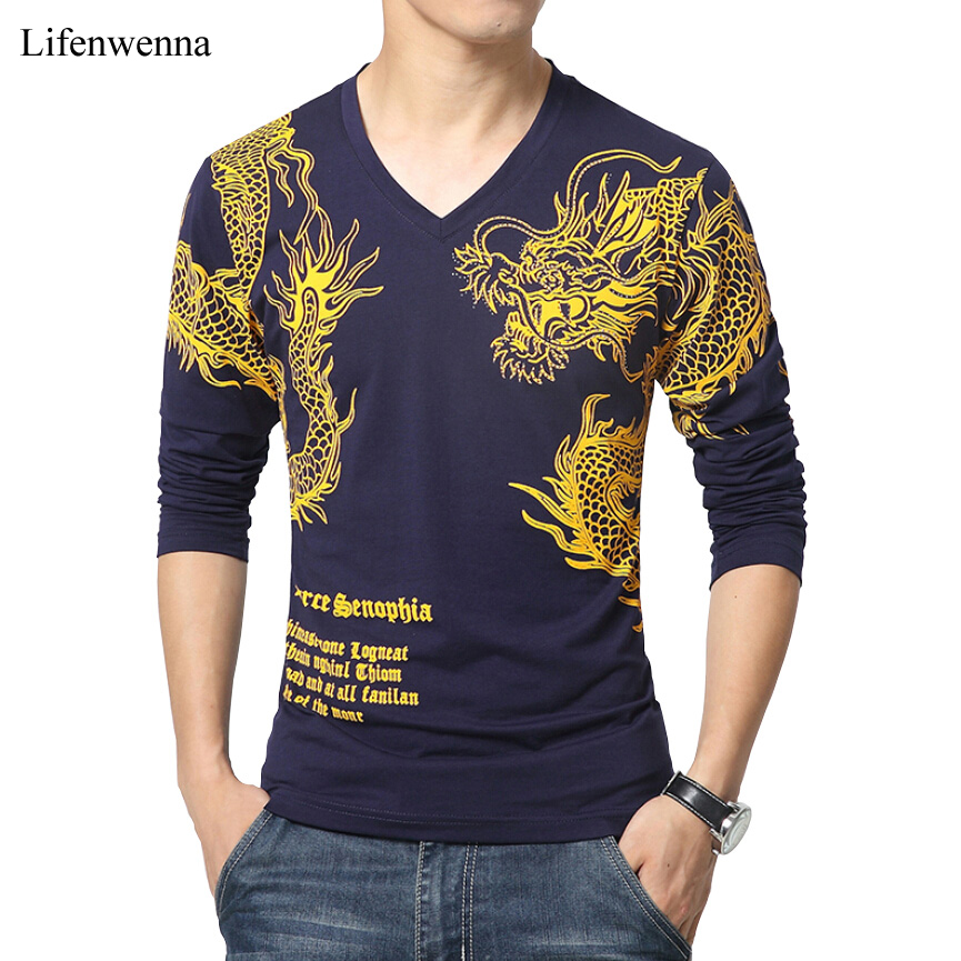 2018 new arrival brand t shirt men fashion dragon print v for Top dress shirt brands
