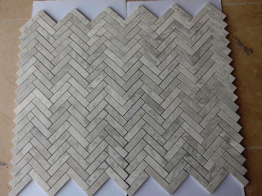 Free shipping grey marble glass mosaic tile grey stone for Glass tile border bathroom ideas