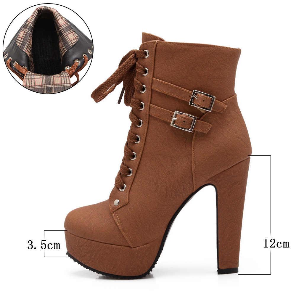 Platformowe buty na wysokim obcasie damskie botki damskie buty na wysokim obcasie seksowne buty motocyklowe platformowe buty duże rozmiary 42 bota feminina