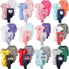 3 Pieces Sets Cartoon Short Sleeve Infant Baby Boy Girl One Piece Romper Full Length Pants New Brand Children Kids Clothes 6M 9M pioneer camp brand kids short new arrival fashion england style kids clothes brand boy short pants high quality children short