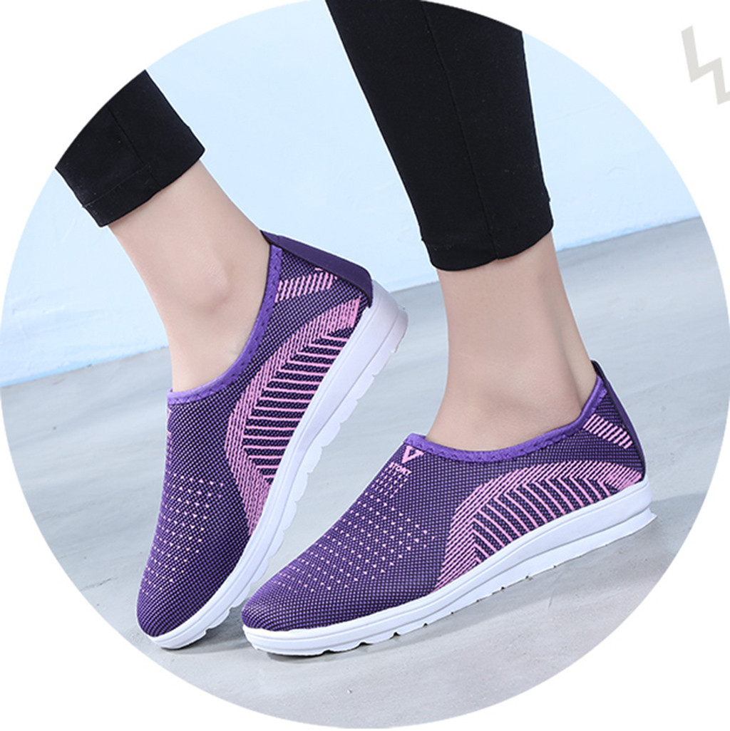 HTB1y7iLacrrK1RjSspaq6AREXXaU MUQGEW Women's Mesh Flat shoes patchwork slip on Cotton Casual shoes for woman Walking Stripe Sneakers Loafers Soft Shoes zapato