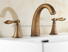 Basin Faucet Antique Brass 3 Hole Bathroom Sink Faucet Deck Mounted Cold Hot Vintage Sink Faucet Mixer Tap Nnf198 free shipping four sets of bathrooms ceramics brass faucet double knobs 4 hole deck mounted sink faucet hot cold mixer tap