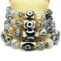 Yumten Diy Bracelet Trendy Bracelets 2017 Femme Men Natural Agate Black White Dzi Beads Agate 8mm 10mm 12mm 14mm Strand Bracelet