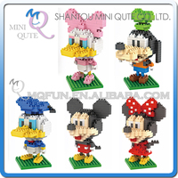 5pcs/lot Mini Qute LNO kawaii 5 styles Big head mouse duck 3d plastic puzzle cartoon model children gift educational toy