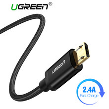 Ugreen Nylon Micro USB Cable 2.4A Fast Charging Data Cable for Xiaomi Redmi Note 5 Huawei HTC Phone Charger Cable Micro USB Cord(China)