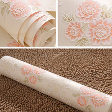 3d pink roses flowers wallpaper non-woven delicate embossed