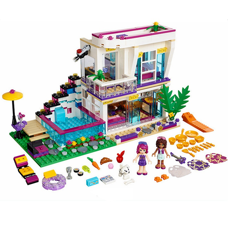 Girls Friends Series Livi's Pop Star House Building Blocks Bricks Toy for Girls Compatible with Legoingly 41135 for Kids Gifts super large 256pc building blocks set compatible with lego friends series pop star limo model brinquedos bricks toys for girls