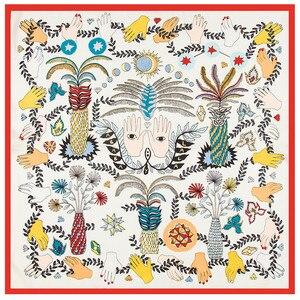 60 см * 60 см H Letter роскошный брендовый женский шелковый шарф из саржи 2020 повязка на голову с принтом лошади новые модные небольшие Квадратные п...