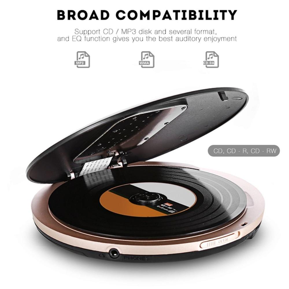 Lecteur CD Portable HOTT 511 avec prise casque, Protection antichoc antidérapante lecteur de disque de musique CD Compact avec écran LCD