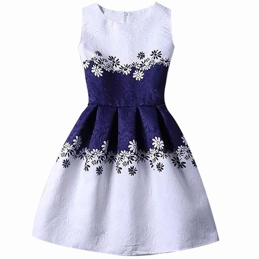c4b81730f4 2018 nueva moda flor de verano Niñas Ropa 6 7 8 años cumpleaños niños ropa  de
