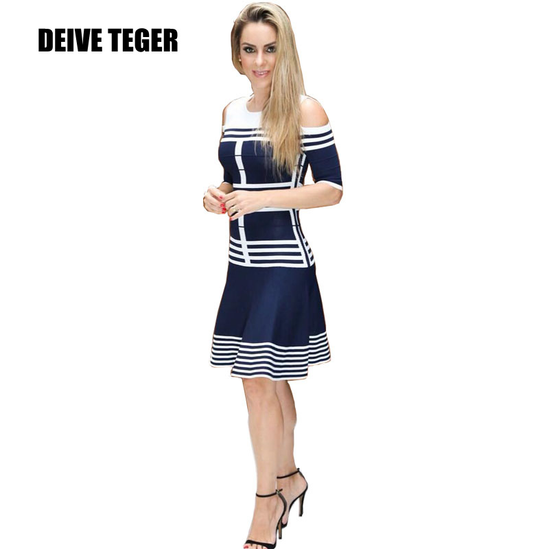 DEIVE TEGER  New Arrival 2018 spring Women hollow out striped short sleeve sexy Bandage causal Dress  HL2834
