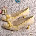 Mulher bombas de noiva Stiletto salto alto Lace sapatos de casamento arcos amarelo frete grátis