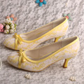 Woman Bridal Pumps Stiletto High Heel Lace Bows Wedding Shoes Yellow Free Shipping