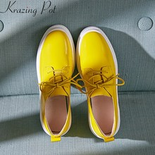 Krazing Pot 2019 superstar genuine leather brand spring shoes casual round toe sneaker wedge platform women vulcanized shoes L06 krazing pot genuine leather embroidery high heels straw decorations platform sandals runway beading oriental beauty shoes l38