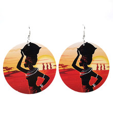 YD&YDBZ 2019 Fashion Ethnic Style Earrings For Women Jewelry Wood Big Round Pendant Earrings Drop Earring Bohemia Can Customize(China)