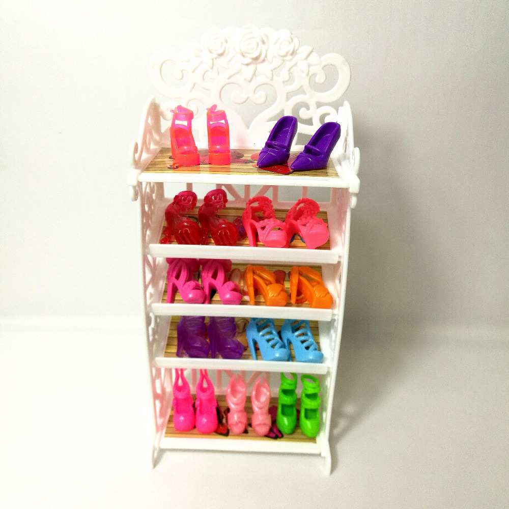One Set 2018 Newest Doll Shoes Rack Playhouse Accessories For Barbie Doll Furniture Kids font b