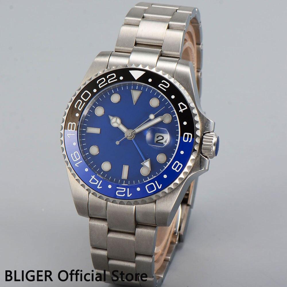 Classic BLIGER 43mm Blue Sterile Dial Blue Black Ceramic Bezel Blue GMT Pointer Sapphire Glass Automatic Movement Men's Watch