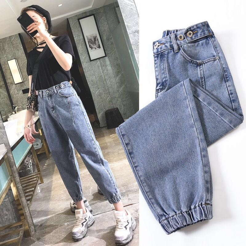Oversize High Waist Jeans Elastic Loose Korean JEANS Women Boyfriend Pants Women Plus Size Oversized Jeans Woman Trousers 2019