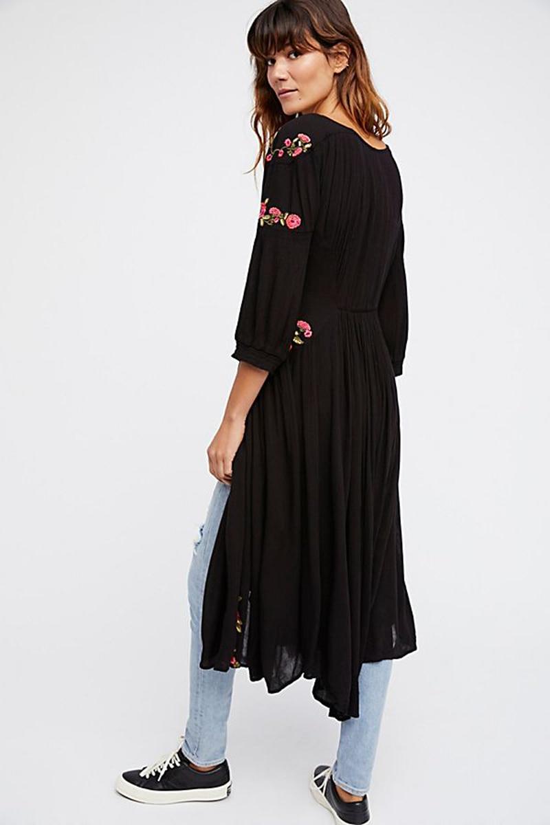3f5bddad46 TEELYNN black Boho long dress 2018 spring Floral Embroidery three quarter  Sleeve sexy v-neck Dresses Casual Women dress vestidos