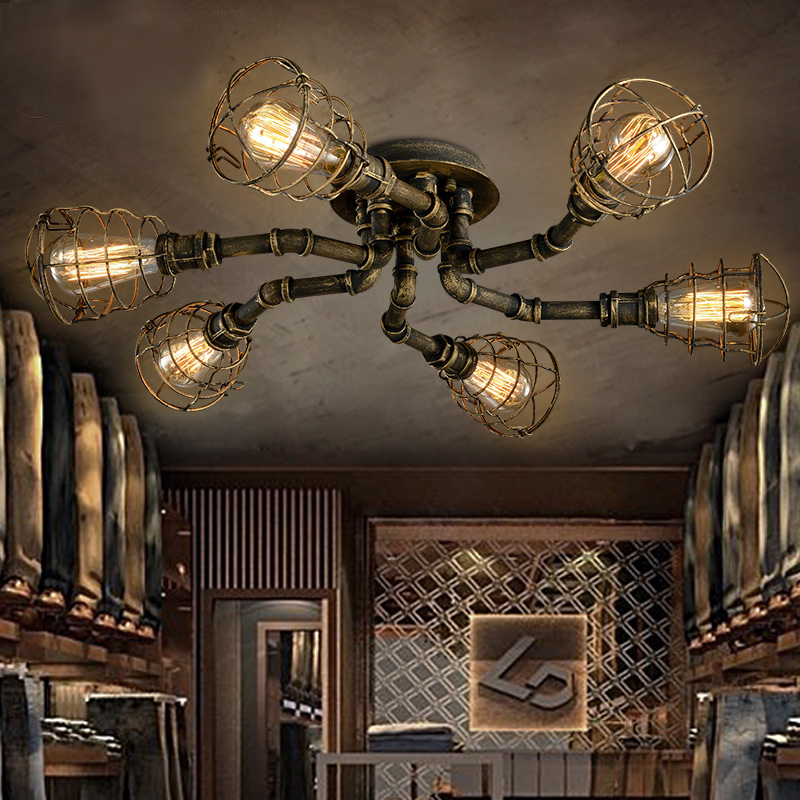 American retro style industrial loft ceiling light creative personality iron waterpipes Restaurant bar living room ceiling lamp