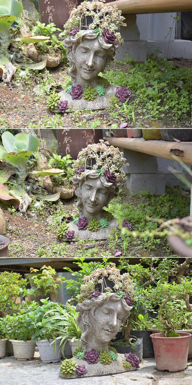 Giardino Di Una Casa arredamento da giardino cortile mezza lunghezza ritratto di una ragazza che  indossa un succulente collana giardino di casa paesaggio vaso di fiori