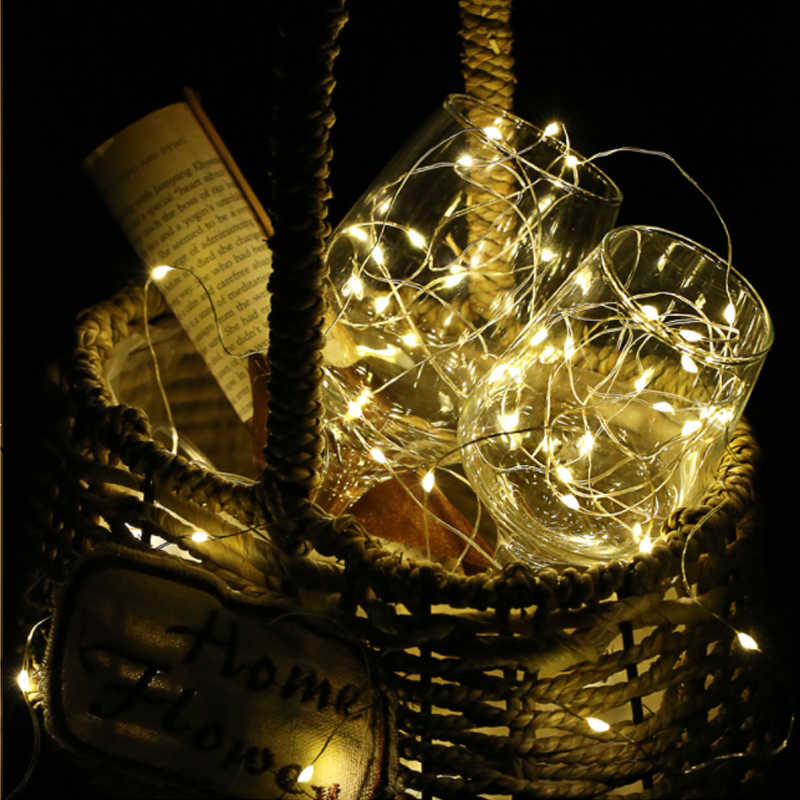 2-10m 100LEDs Copper Wire LED String Light Fairy Bulb Waterproof AA Battery Powered Party Festoon Decoration Light Chain