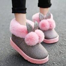 Для женщин с милыми заячьими ушками мягкие домашние сапоги хлопка теплые  женские зимние ботинки 2018 Новая 2e10cd4924a