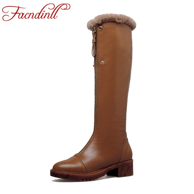 FACNDINLL winter women shoes ladies fashion leather fur winter warm shoes woman knee high boots women thigh high boots platform