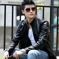 2017 Men's new Korean Coat fashion leather Slim collar short men leisure motorcycle leather jacket