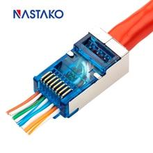 Ez rj45 conector cat5e cat6 conector jack rede 8p8c cat6 rj45 módulo plugue cabo lan fácil passar através para cat6 cat5