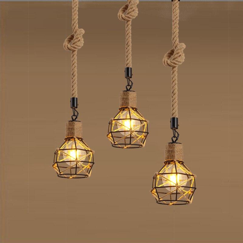 Loft Retro Handmade Hemp Rope Pendant Lights Fixture Iron Vintage Industrial American Cafe Bar Kitchen Indoor Led Hanging Lamps