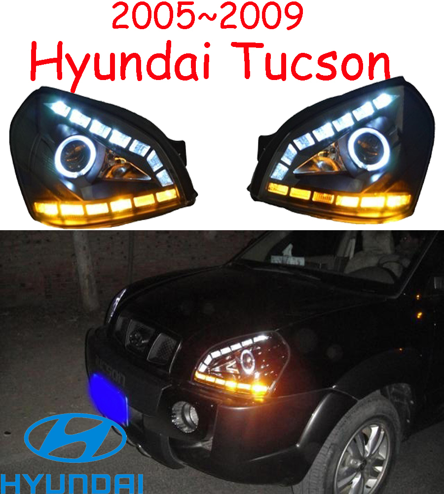 car-styling,Tucson headlight,2005~2009,Free ship! Tucson fog,LED,2ps+2pcs Aozoom Ballast,Tucson taillight,Veracrus