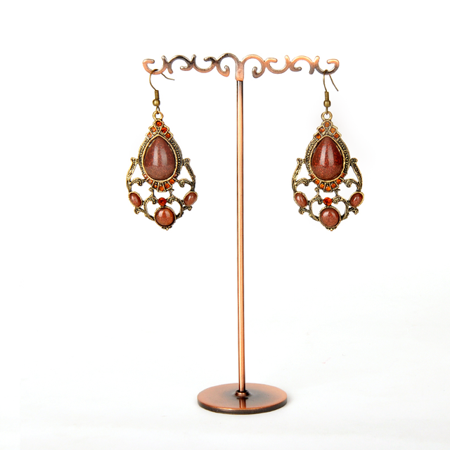 Copper Metal Earrings Display Stand Flower T Shape Drop Rack Jewelry Holder