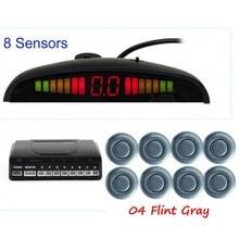 car Parking Sensor 8 sensors Reverse Backup Radar Kit System  Accessories LED Display Monitor 12V 44 colors available backlight