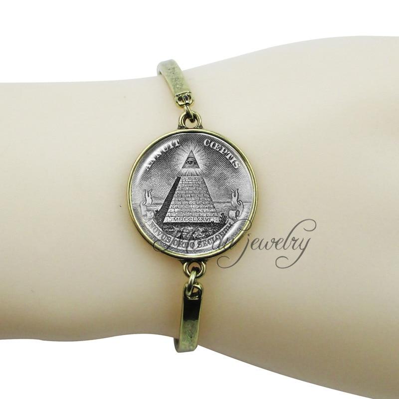 Annuit Coeptis charm bracelet Egypt pyramid jewelry Eye of providence,All seeing eye,Masonic sign metal cuff bracelet pulseiras  Ювелирное изделие