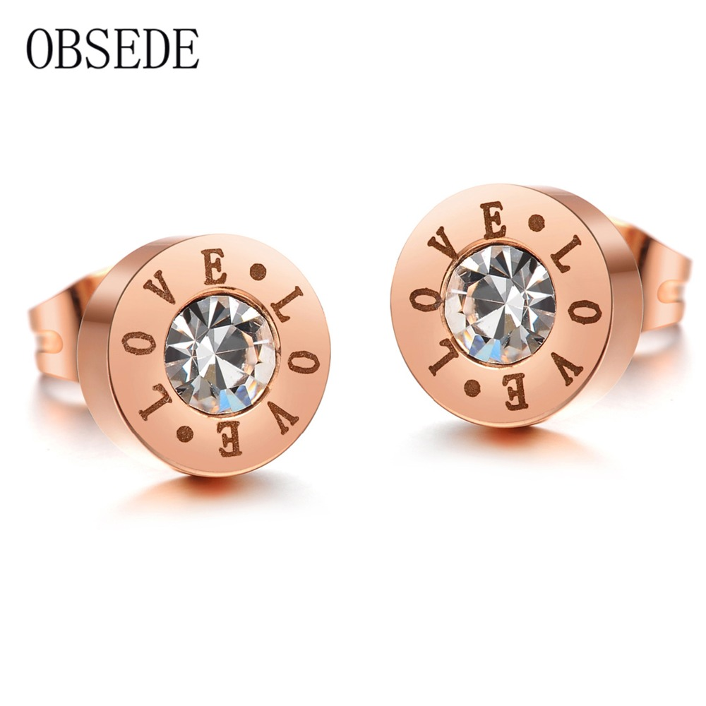 OBSEDE Fashion Charm Forever Love Stud Earrings Simple Style Stainless Steel Earrings For Women Rose Gold Color Women Jewelry