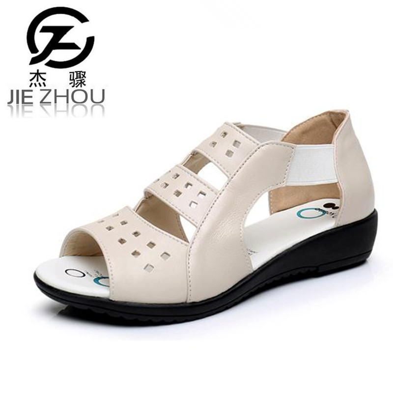 Summer women's sandals Hollow leather Genuine shoes Soft bottom mom shoes Large size elderly shoes size 35-43 zapatos obuv genuine leather mom shoes retro flowers soft bottom flats shallow mouth women shoes comfortable large size elderly shoes obuv