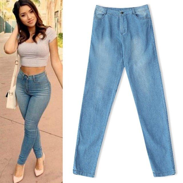 Women Ladies High-Waisted Denim Pants Slim Long Jeans Trouser YRD