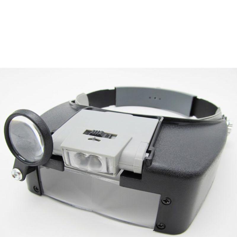 Helmet Magnifying Glass LED Illuminated Watch Repair Loupe Headband Magnifier