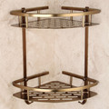 Antique Brushed Bathroom Shelves Double Layer Bronze Corner Shower Shampoo Soap Cosmetic Storage Shelf Bathroom Products