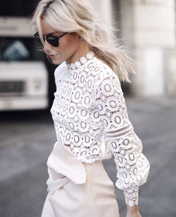 AEL New Spring Self Portrait White Lace Flower Tops Crochet Lace Hollow Out Women's Blouse Lantern Sleeve Female Lady Clothing