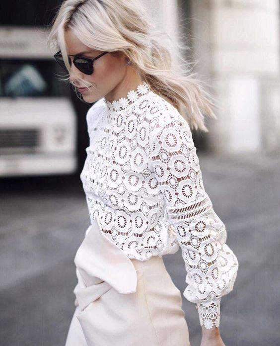 PADEGAO Nuova Primavera Autoritratto Bianco Del Fiore Del Merletto Top Crochet Del Merletto delle Donne Camicetta A Maniche Lunghe Femminile Signora Abbigliamento
