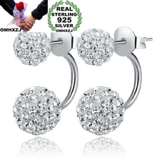 OMHXZJ Wholesale Fashion jewelry white fruit AAA zircon 925 sterling silver Stud earrings YS04