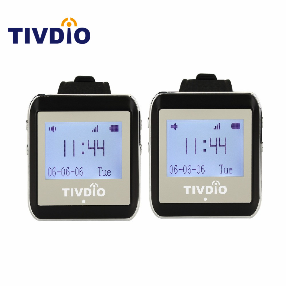 TIVDIO 2 Pcs Black 999CH Wireless Restaurant Calling System Watch Wrist Receiver Host Watch Call Pager 433MHz Pager Watch F9404A