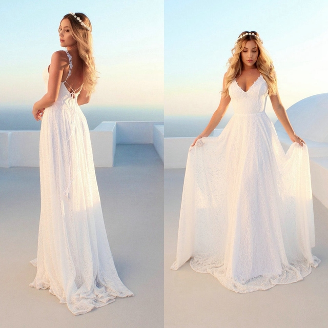 Elegant Boho  Ivory Long Wedding Dresses V Neck