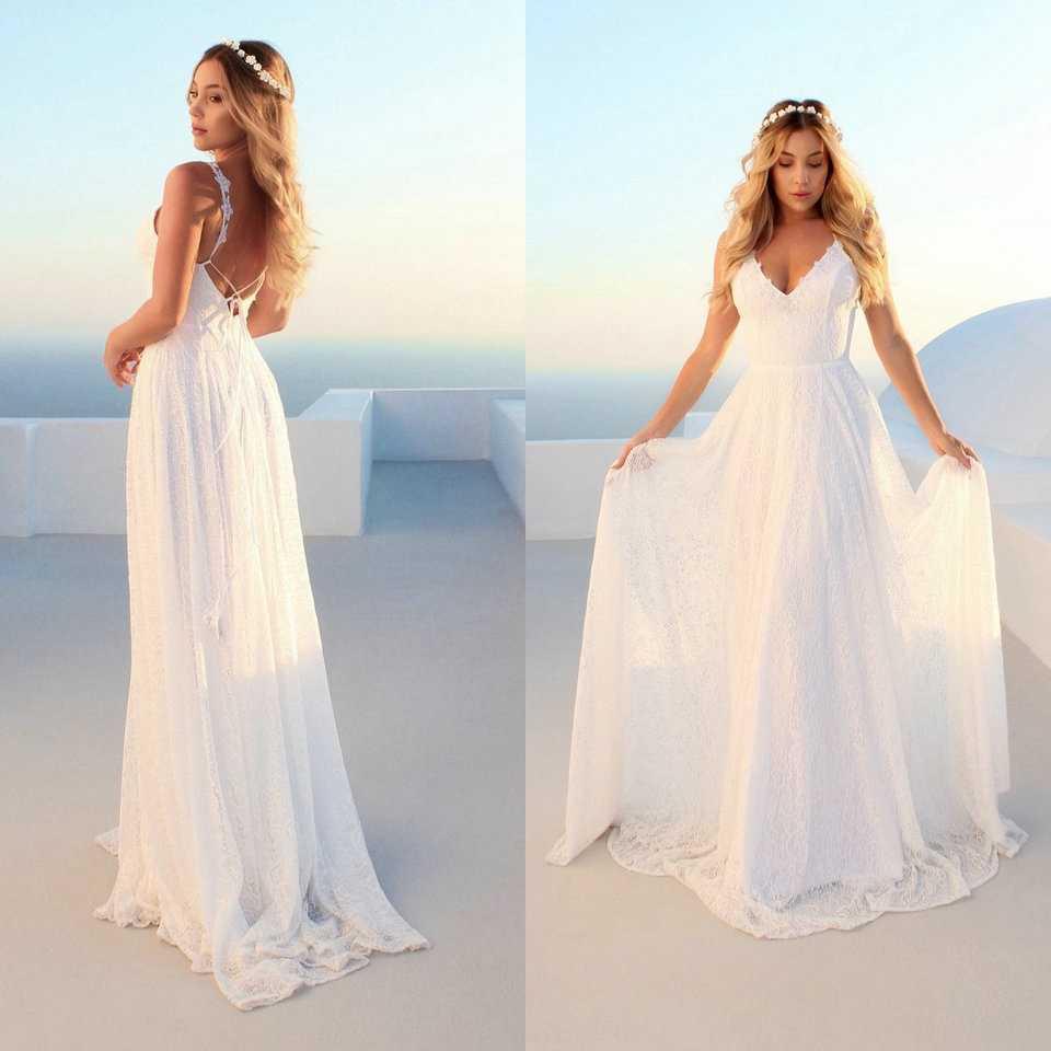 Elegante boho feminino marfim longo vestidos de casamento 2019 vestido de casamento gongbaolage v pescoço rendas boêmio magro ajuste festa sexy vestido de noiva